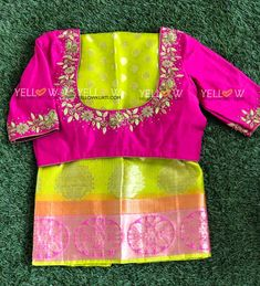 Silk Kota Saree with allover butis and double coloured borders. Blouse work can be customised as per your choice. Pattu Saree Blouse Designs, Blouse Designs Silk, Bridal Blouse Designs, Blouse Patterns, Kids Blouse Designs, Simple Blouse Designs, Stylish Blouse Design, Yellow Kurti, Sumo
