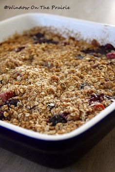 Blueberry and Rhubarb crisp....Yummy!