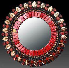 Red Leaf Mosaic Mirror by Zetamari Mosaic Artworks