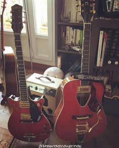 Follow @kw3hmd on Instagram: From: @myguitarcollection -  Past on the left : 6131 JET FIRE BIRD1961  Introduced as essentially a red version of the of the #DuoJet in 1955 the Jet Fire Bird is another of #Gretsch's iconic #solidbodies. Like the Duo Jet the Fire Bird has a rather chambered body which gives a very light overall feel. In 1961 the line was changed from a #Les Paul-like single cutaway to a symmetrical double cutaway body shape. Initially this guitar used #DeArmond pickups which…