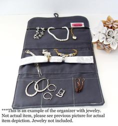 Travel Jewelry Organizer / Jewelry Roll in Brown and by UpUrAly