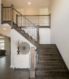 Cover picture-- all same stain color of stairs 80 Modern Farmhouse Staircase Decor Ideas renovation Staircase Rustic Staircase, Interior Staircase, Staircase Remodel, Staircase Makeover, Staircase Railings, Staircase Design, Staircase Ideas, Iron Spindle Staircase, Banisters