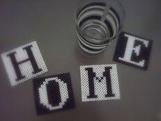 Untersetzer 4er Set HOME Black&White Bügelperlen - ein Designerstück von love-at-table