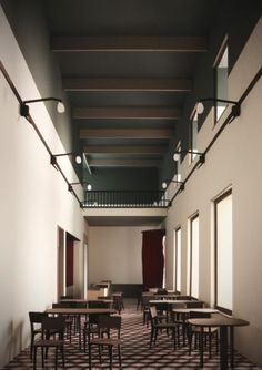 Minimal restaurant design through simple vintage furniture, lighting and muted colors in historic hall. Retail Interior, Apartment Interior, Restaurant Design, Facade Lighting, Vintage Interior Design, Corporate Interiors, Restaurants, Space Architecture, Furniture Design