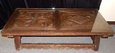 Antique Heavily Carved Dark Oak Wood Spanish Style Coffee Table with Glass Top