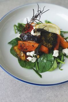 Low FODMAP roasted vegetables with lemon and feta. A vibrant, healthy and satisfying main or a simple side for grilled fish.