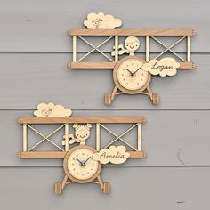Wooden Airplane Clock Personalized Name Baby Nursery Kids