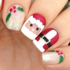 Designs for christmas ideas about Christmas manicure, pretty nails and Holiday nail art. As if ombre nails are not cool enough, this holiday nail design uses a glitter ombre with painted Christmas ornaments on each nail. The look is intricate and fun . Christmas Nail Polish, Cute Christmas Nails, Christmas Nail Art Designs, Xmas Nails, Holiday Nails, Christmas Holidays, Christmas Manicure, Christmas Ideas, Christmas Fashion