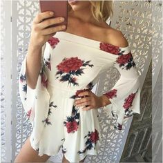 Popular Brand Nadafair Summer Women Boho Tassel Playsuit High Waist Off Shoulder Print Playsuits Casual Floral Slash Neck Rompers Top Women Women's Clothing