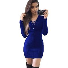 Women s Sweaters Winter Autumn Long Knitted V Neck Knitted Sweater Dress  Womenuotelab 7aa853cbfb3d
