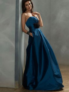 peacock silky taffeta strapless fashion long bridesmaid ball gown with flower