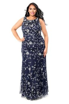 8ef298e87a2 Kurves By Kimi Navy Embroidered Plus-size Long Sleeveless Dress style 71153  Front View Flattering