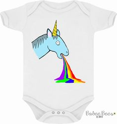 Grab your baby their first ironic unicorn shirt! This funny baby clothing design features a unicorn throwing up a rainbow. After all, isn't that how their made? Since it's gender neutral it can easily be worn by a baby girl or baby boy and will be...