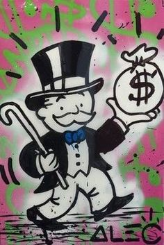 """Painting (acrylic and Spray-paint on canvas, finished in resin) """"Moneybag Pink"""" (2014) by Alec Monopoly"""