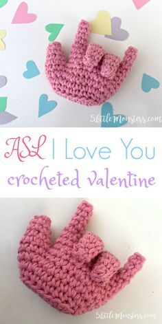 a crocheted Valentine in the form of a hand signing I love you in ASL. You can leave it as is or add a string to make it an ornament.