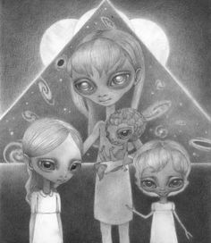 Hybrid Daughters by Ana Bagayan- A hybrid family of humanoid alien girls stands as a family with older sister, middle aged, young tottler and small baby set to a surreal landscape of space. Original on of a kind hand drawn graphite artwork by famous artist Ana Bagayan.