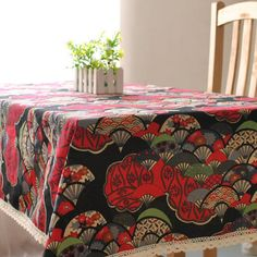 >> Click to Buy << Indian Style Bule Red Printed Fan Table Cloth Linen Cotton Restaurant Party Rectangular Tablecloth Square Table Cover 1040ZB #Affiliate