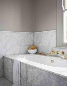 Marble bathroom with inset bath