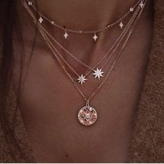 $10.18 | ZG Boho Gem Round Stars Pendant Multilayer Necklace Charm Pearl Gold Chain Party Jewelry Gift For Women бижутерия Outfit Accessories FromTouchy Style | Free International Shipping. Cute Jewelry, Jewelry Accessories, Fashion Accessories, Women Jewelry, Jewelry Shop, Pretty Necklaces, Star Jewelry, Beautiful Necklaces, Cheap Jewelry