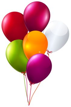 Colorful Bunch of Balloons Clipart PNG Image