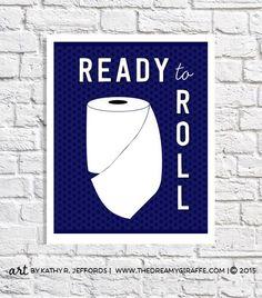 Bathroom Decor Art Funny Bathroom Sign Navy Bathroom Wall Decor Quote Print Toilet Paper Artwork Bathroom Humor Small Poster 8.5 x 11 Print