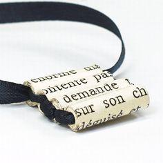 Papier kraal sieraden-Frans Upcycled zwart lint ketting, Ladder ketting, Frans sieraden, papier parel ketting, papier Jewelry door Tanith
