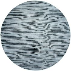 @Overstock.com - Hand-tufted Blue/Black Stripe Cricket Wool Rug (8' Round) - This creative blue cricket rug is constructed of plush New Zealand wool for softness and durability. The rug features a contemporary style in trendy colors to really tie your room together.  http://www.overstock.com/Home-Garden/Hand-tufted-Blue-Black-Stripe-Cricket-Wool-Rug-8-Round/6479748/product.html?CID=214117 $203.39