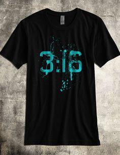 John 3:16 Christian Shirt - A Super Soft Black Poly/Cotton Blend Christian TShirt (ON SALE)