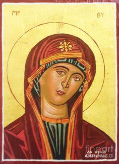 Icon of the virgin Mary. Painting  - Icon of the virgin Mary. Fine Art Print