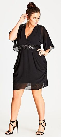 45 Plus Size Wedding Guest Dresses {with Sleeves} – Plus Size Cocktail Dresses -… - Noel - christmas Plus Size Black Dresses, Plus Size Cocktail Dresses, Plus Size Party Dresses, Black Cocktail Dress, Plus Size Outfits, Flattering Plus Size Dresses, Dress Black, Mode Chic, Mode Style