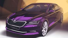 2015 Skoda Superb. purple  car
