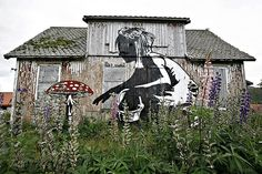 Dolk and Pøbel. Girl and Amanita mushroom (Norwegian graffiti art)