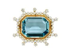 Centering an emerald-cut aquamarine weighing approximately carats, surrounded by beadwork granulation, seed pearls and small old mine-cut diamonds, mounted in gold Edwardian Jewelry, Antique Jewelry, Vintage Jewelry, Gems Jewelry, Beaded Jewelry, Fine Jewelry, Jewellery, Shades Of Light Blue, Aquamarine Jewelry