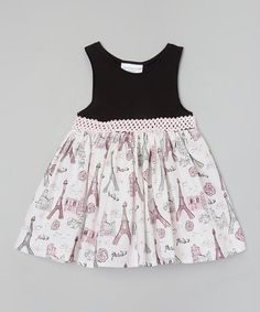 $24.99! Look what I found on #zulily! Black Eiffel Tower Dress - Toddler & Girls #zulilyfinds