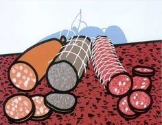 View THREE SAUSAGES C. 54 by Patrick Caulfield on artnet. Browse upcoming and past auction lots by Patrick Caulfield. Meat Art, Pop Art, Still Life Art, Art Themes, Everyday Objects, Art Design, Art Auction, Contemporary Paintings, Screen Printing