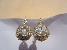 So romantic!!!! Antique Rose Cut Diamond Cluster Earrings in 18K Yellow Gold ~ Victorian Period