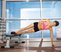 Waist Cincher    Start in a side plank with feet staggered on bench, right foot in front of left, left palm on floor, right arm wrapped around waist. Raise hips as high as you can (as shown), then lower to start for 1 rep. Do 12 reps. Switch sides; repeat.