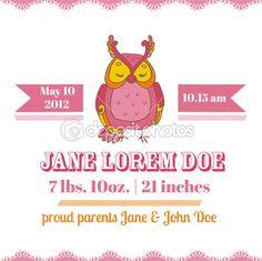 cartões chuveiro ou chegada de bebê - tema coruja — Ilustração de Stock #31098777