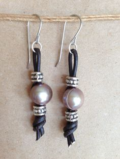 Freshwater Pearl Earrings, Knotted Leather Cord Earring w/ Silver Accent Beads. Unique and gorgeous!!!