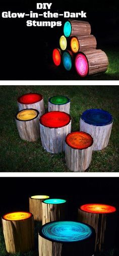 Amazing Idea! Paint the upper portion of tree trunk that glow in the dark and use it for sitting purpose in the dark for your outdoor.