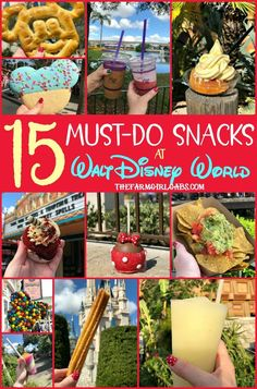 15 Must Eat Snacks At Walt Disney World Eat your way around the happiest place on earth and try a few of these 15 Must Eat Snacks At Walt Disney World. 15 Must Eat Snacks At Walt Disney World Eat your way around the happiest place on earth and try a … Disney World Tipps, Disney World Food, Disney World Florida, Walt Disney World Vacations, Disney World Tips And Tricks, Disney Tips, Disney Travel, Disney Recipes, Disney Disney