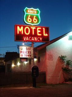 Neon sign at the #Route66 Motel on Main Street in #Barstow, California.  #FilmBarstow www.FilmBarstow.com