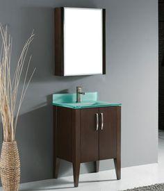 Madeli Caserta Bathroom Vanity with Glass Basin - Walnut Discount Bathroom Vanities, 24 Vanity, Small Bathroom Vanities, Vanity Set With Mirror, Single Bathroom Vanity, Bathroom Fixtures, Bathroom Ideas, Contemporary Style Bathrooms, Modern Bathroom