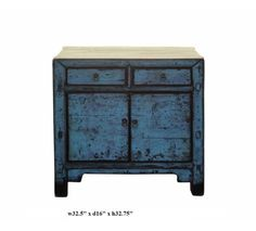 Rustic Blue Lacquer Side Table Cabinet s1045
