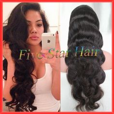 Beautiful human hair full lace wig 200 density long body wave virgin malaysian glueless silk top lace front wigs with baby hair