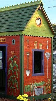 Painted wood shed