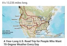 Map of a year long North American road trip for 70 degree weather every day (North America, United States) Rv Travel, Travel Maps, Places To Travel, Travel Destinations, Travel Route, Wanderlust Travel, Time Travel, Road Trip Usa, 1200 Gs Adventure