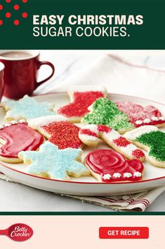 You're not just making classic sugar cookies today. You and the kids are making unforgettable memories! Create delicious sugar cookie canvasses for you and the kids to decorate with our Betty Crocker cookie mix. Then let your imagination run free! Betty Crocker Rich & Creamy white or whipped fluffy white frosting are great ways to start off. Then add the sprinkles and icing to make the memories last. Remember, a little mess makes for a lot of memories. Take your time, have fun and repeat! Sugar Cookie Recipe Easy, Easy Sugar Cookies, Christmas Sugar Cookies, Christmas Snacks, Christmas Cooking, Holiday Cookies, Holiday Baking, Christmas Desserts, Holiday Treats