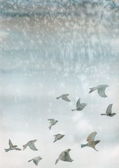 Watercolor painting - Flying birds - Blue gray winter sky - OOAK artwork by NauticByNature (79.00 EUR) http://etsy.me/T9JgCO