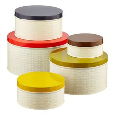 Orla Kiely Embossed Stems Round Cake Tins Assorted Lids Set of 5 / containerstore.com